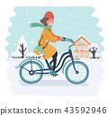 bike, snow, girl 43592946