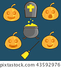pumpkins face and halloween symbol 43592976