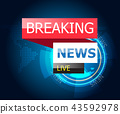 breaking news with world map background 43592978