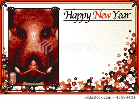 """2019年新年賀卡""""日本現代野豬臉設計""""新年快樂手寫字母空間免費 43594401"""