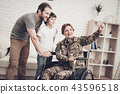 Disabled Woman Soldier Makes A Family Selfie. 43596518