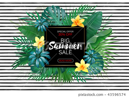 """Trendy floral vector template. Summer flowers and """"Summer sale"""" lettering illustration. Tropical 43596574"""