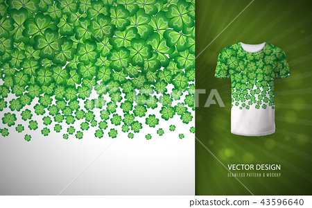 Seamless clovers border as a pattern on a T-shirt. Vector illustration. Typographic Template. Lucky 43596640