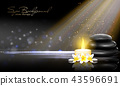 Still life with Spring blossom with white candle and black stones on dark background. Vector spa 43596691