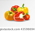 Photo-realistic vector. Red tomato and paprika vegetables. A set of products for a vegetable dish is 43596694