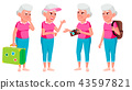 Old Woman Poses Set Vector. Elderly People. Senior Person. Aged. Tourist, Tourism. Active 43597821