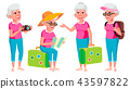 Old Woman Poses Set Vector. Elderly People. Senior Person. Aged. Tourist, Tourism. Positive 43597822