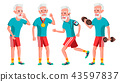 Old Man Poses Set Vector. Elderly People. Senior Person. Aged. Sport, Fitness. Cheerful Grandparent 43597837