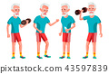 Old Man Poses Set Vector. Elderly People. Senior Person. Sport, Fitness. Aged. Positive Pensioner 43597839