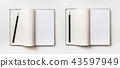 Top view of black notebook isolated on background 43597949