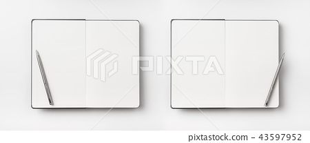 Top view of black notebook isolated on background 43597952