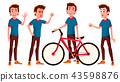 Teen Boy Poses Set Vector. Activity, Beautiful. For Postcard, Cover, Placard Design. Isolated 43598876