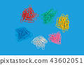 six heaps of paper clips 43602051