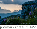 Sunset at the Passo di Giau, in the Italian Dolomites 43603455