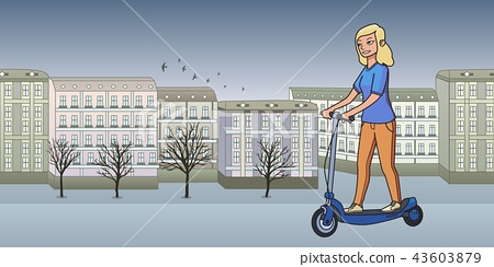 Young blonde girl riding electric scooterboard on bleak autumn city background. Flat line vector 43603879
