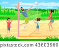 Happy Family Playing Sports in Park Cartoon Vector 43603960