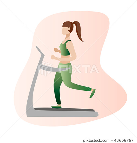 Fitness concept illustration of woman. Fitness girl icons isolated on white background. Flat design. 43606767