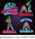 Set of Neon Baseball club badge. Vector illustration. Concept for shirt or logo, print, stamp or tee 43607100
