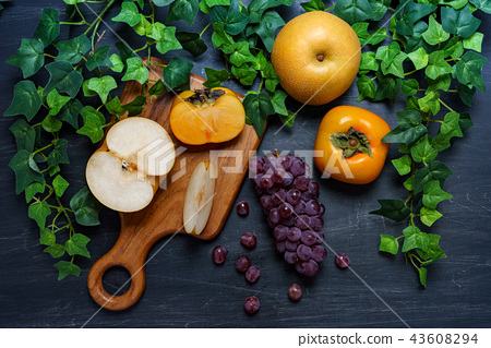 秋季水果(麻,柿子,梨) 43608294