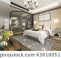 modern luxury bedroom suite and bathroom 43610051
