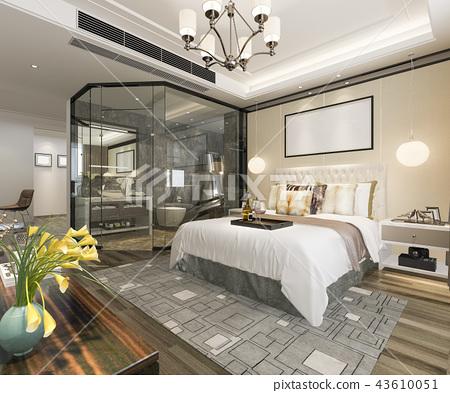 modern luxury bedroom suite and bathroom 43610051