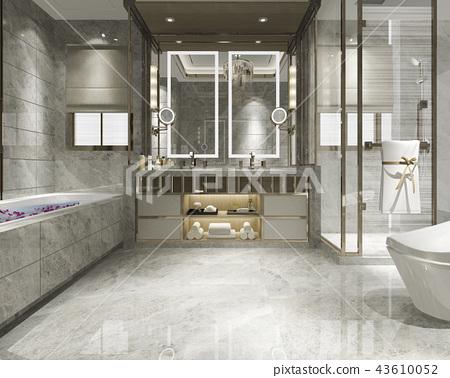 modern bathroom with luxury tile decor  43610052