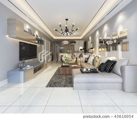modern dining room and living room 43610054