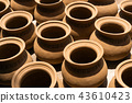 Many pottery handmade leaves for hang to dry. 43610423