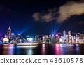 Laser show over Hong Kong at downtown 43610578