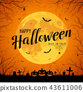 Happy Halloween message yellow full moon vector 43611006