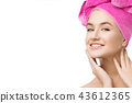 girl in pink towel on head isolated on white 43612365