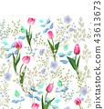 Spring flowers. Seamless floral border. Vintage vector illustration. 43613673