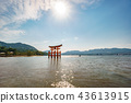 Miyajima Torii gate on high tide and sun over it 43613915