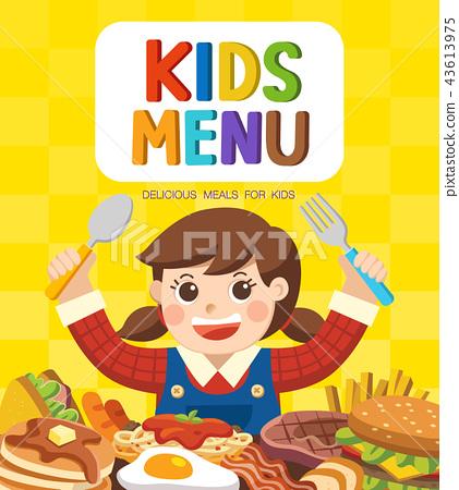 Cute colorful kids meal menu. 43613975