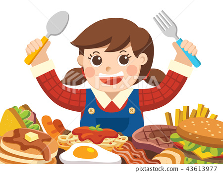 A Girl with spoon and fork going to eat Foods. 43613977
