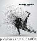 Silhouette of a break dancer from particles. 43614838