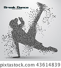 Silhouette of a break dancer from triangles 43614839