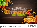 Oktoberfest Banner Illustration with Typography Lettering on Vintage Wood Background. Vector 43614921