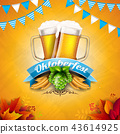 Oktoberfest Banner Illustration with Fresh Beer, Wheat and Hop on Shiny Yellow Background. Vector 43614925