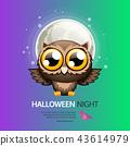 Halloween Night Greeting Card with Owl 43614979