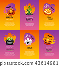 Halloween Greeting Cards Colorful Set 43614981