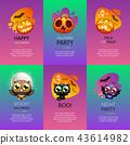 Halloween Greeting Cards Vibrant Set 43614982