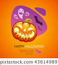 Happy Halloween Greeting Card with Pumpkin Colorful 43614989