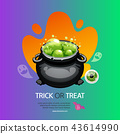 Trick or Treat Halloween Greeting Card with Pot 43614990