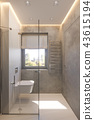 3d render interior design of the bathroom with glass walk in shower 43615194