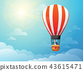 Businessman in hot air balloon search to success in bright day. Business concept. 43615471