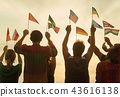 Hands up with flags. 43616138