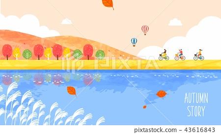 Autumn greeting illustration 43616843