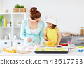 happy mother and daughter baking muffins at home 43617753