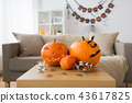 jack-o-lantern and halloween decorations at home 43617825